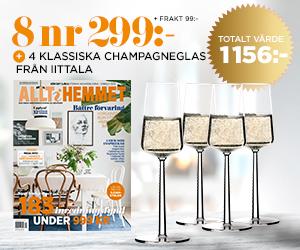 8 nr Allt i Hemmet + fyra champagneglas från iittala för endast 299:- Rabatt / Återbäring