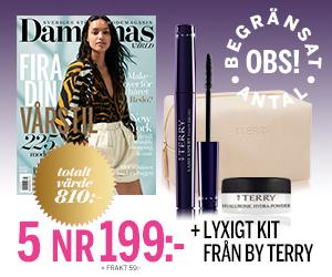 5 nr Damernas Värld + Necessär, mascara & puder från ByTerry för endast 199:- Rabatt / Återbäring
