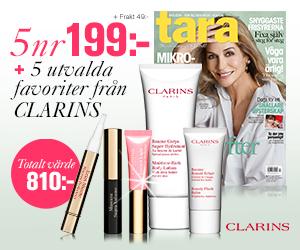 5 nr Tara + 5 utvalda favoriter från Clarins för endast 199 kr Rabatt / Återbäring