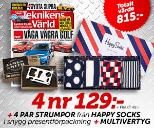Teknikens Värld - 4 nr + 4-pack Happy Socks + multiverktyg för endast 129:- Återbäring