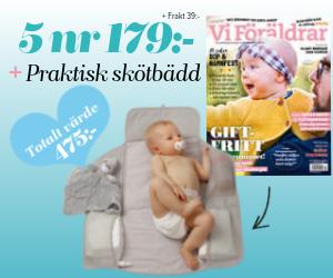 Vi Föräldrar - 5 nr för 179 kr + en praktisk skötbädd Återbäring