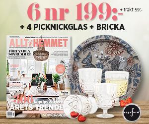 Allt i Hemmet - 6 nr + 4 härliga picknickglas från Sagaform + bricka från Nadja Wedin för endast 199 kr Återbäring