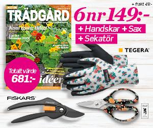 6 nr Allt om Trädgård + Trädgårdshandskar, sekatör & multisax för endast 149:- Rabatt / Återbäring