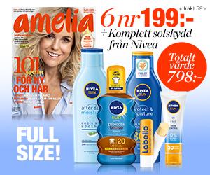 Tidningspremie: 6 nr amelia + 5 NIVEA SUN-produkter för endast 199:-