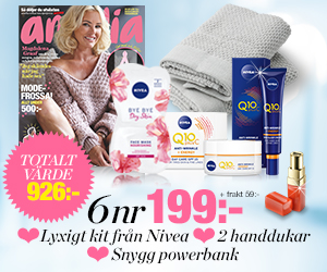 amelia - 6 nr + Nivea-kit, handdukar & powerbank för endast 199 kr Återbäring