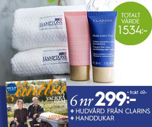 Lantliv - 6 nr + hudvård från Clarins & 2-pack handdukar för endast 299 kr Återbäring