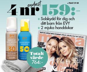 Tidningspremie: 4 nr av mama för endast 159 kr + Solskydd för dig och ditt barn från EVY + 2 mjuka handdukar + frakt 59 kr
