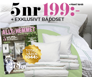 5 nr av Allt i Hemmet för endast 199 kr. + lyxigt bäddset Rabatt / Återbäring