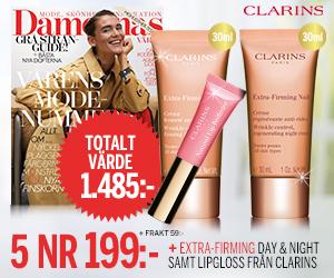 5 nr av Damernas Värld för endast 199 kr + lyxigt kit från Clarins Rabatt / Återbäring