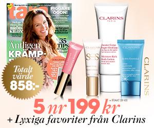 Tidningspremie: 5 nr av Tara för endast 199 kr + lyxiga produkter från Clarins