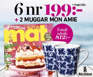 Tidningspremie: 6 nr av Allt om Mat för 199 kr + 2 muggar Mon Amie