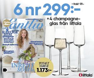 6 nr av Lantliv för 299 kr + 4 champagneglas från Iittala Återbäring