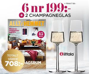 Tidningspremie: Allt i Hemmet - 6 nr + 2 champagneglas från Iittala