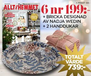 Allt i Hemmet - 6 nr + Bricka från Nadja Wedin och två frottéhanddukar Återbäring