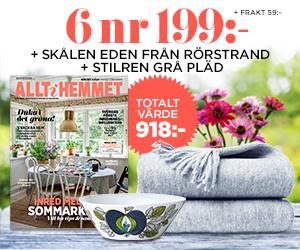 Allt i Hemmet - 6 nr + Gråmelerad pläd & skål från Rörstrand Återbäring