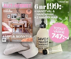 Allt i Hemmet - 6 nr + Produkter från Savon de Marseille & två frottéhanddukar Återbäring