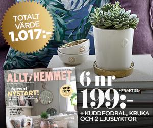 Allt i hemmet - 6 nr + trendigt kit med kuddfodral, kruka och ljuslyktor Återbäring