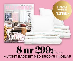 Tidningspremie: Allt i hemmet - 8 nr 299 kr + bäddset