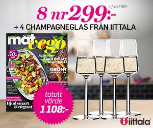 Tidningspremie: Allt om Mat - 8 nr + 4 st champagneglas ur serien Essence från Iittala