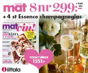 8 nr av Allt om Mat för 299 kr + 4 champagneglas från Iittala Återbäring