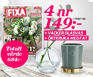 Tidningspremie: Allt om Trädgård FIXA - 4 nr + vacker glasvas & örtkruka med fat