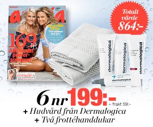 Tidningspremie: Amelia - 6 nr + hudvård från Dermalogica + två frottéhanddukar