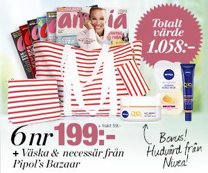 Amelia - 6 nr + väska och necessär från Pipol's Bazaar + hudvård från Nivea Rabatt / Återbäring