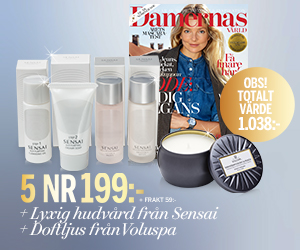 Tidningspremie: Damernas Värld - 5 nr + Lyxig hudvård från Sensai och doftljus från Voluspa