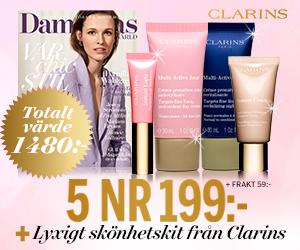Damernas Värld - 5 nr + lyxigt kit från Clarins Rabatt / Återbäring