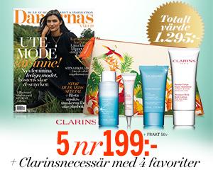 Damernas värld - 5 nr + necessär från Clarins med 4 lyxiga produkter Rabatt / Återbäring