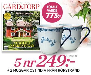 Gård & Torp - 5 nr + två muggar Ostindia från Rörstrand Återbäring