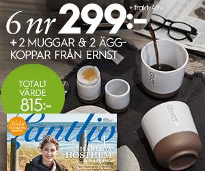 Lantliv - 6 nr + 2 muggar & 2 äggkoppar från Ernst Återbäring