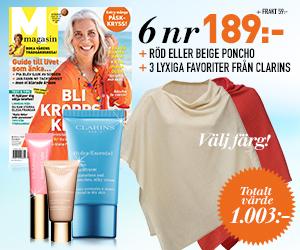 Tidningspremie: M-magasin - 6 nr 189 kr + röd/beige poncho + 3 lyxiga favoriter från Clarins