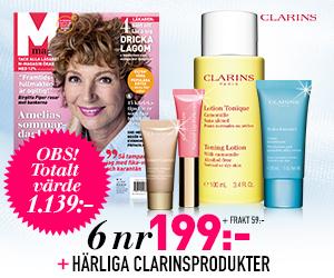 M-magasin - 6 nr + härliga produkter från Clarins Återbäring