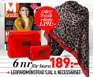 M-magasin - 6 nr + leopardmönstrad sjal och necessärset Rabatt / Återbäring