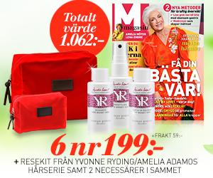 M-magasin - 6 nr + resekit från Yvonne Ryding/Amelia Adamos hårserie samt 2 necessärer i sammet + frakt 59 kr Återbäring