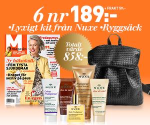 M-magasin - 6 nr + ryggsäck & lyxigt Nuxe-kit Rabatt / Återbäring