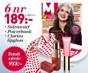 Tidningspremie: M-magasin - 6 nr + scarf + powerbank + lipgloss från Clarins