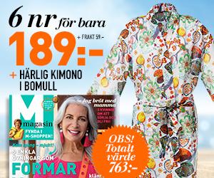 M-magasin - 6 nr + Skön Kimono i bomull Rabatt / Återbäring