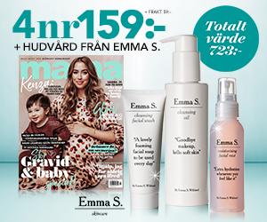 Tidningspremie: mama 4 nr av tidningen + hudvård från Emma S. 159 kr