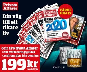 Privata Affärer - 6 nr 199 kr + 2 st whiskeyglas från Orrefors + 2 nr av Placeringsguiden Rabatt / Återbäring