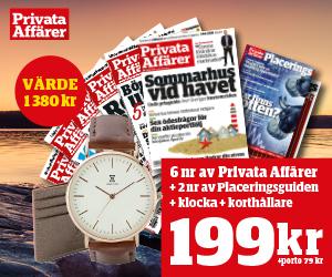 Tidningspremie: Privata Affärer - 6 nr + 2 nr Placeringsguiden, Klocka & Korthållare
