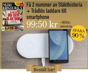 Tidningspremie: Släkthistoria + Trådlös laddare till smartphone