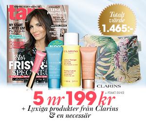 Tidningspremie: Tara - 5 nr + lyxiga produkter från Clarins och en necessär