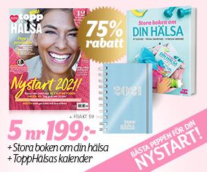 ToppHälsa - 5 nr + kalender för 2021 och Stora boken om din hälsa Rabatt / Återbäring