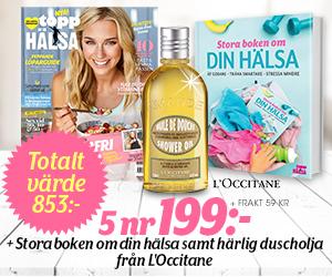 Topphälsa - 5 nr + Stora boken om din hälsa & L'Occitane duscholja Rabatt / Återbäring