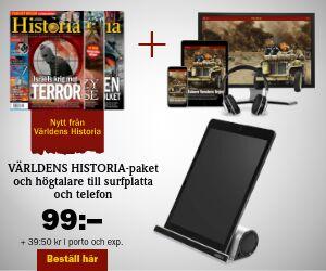 Tidningspremie: Världens Historia + 2-i-1 högtalare till surfplatta och mobil