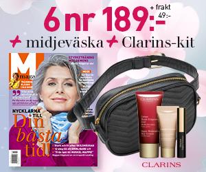 6 nr M-Magasin + praktisk midjeväska & kit från Clarins för endast 189 kr Rabatt / Återbäring
