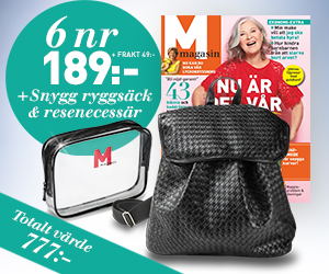 M-magasin - 6 nr + ryggsäck & resenecessär Återbäring