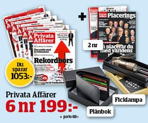 Privata Affärer - 6 nr + 2 nr av Placeringsguiden + plånbok + ficklampa för endast 199 kr Återbäring